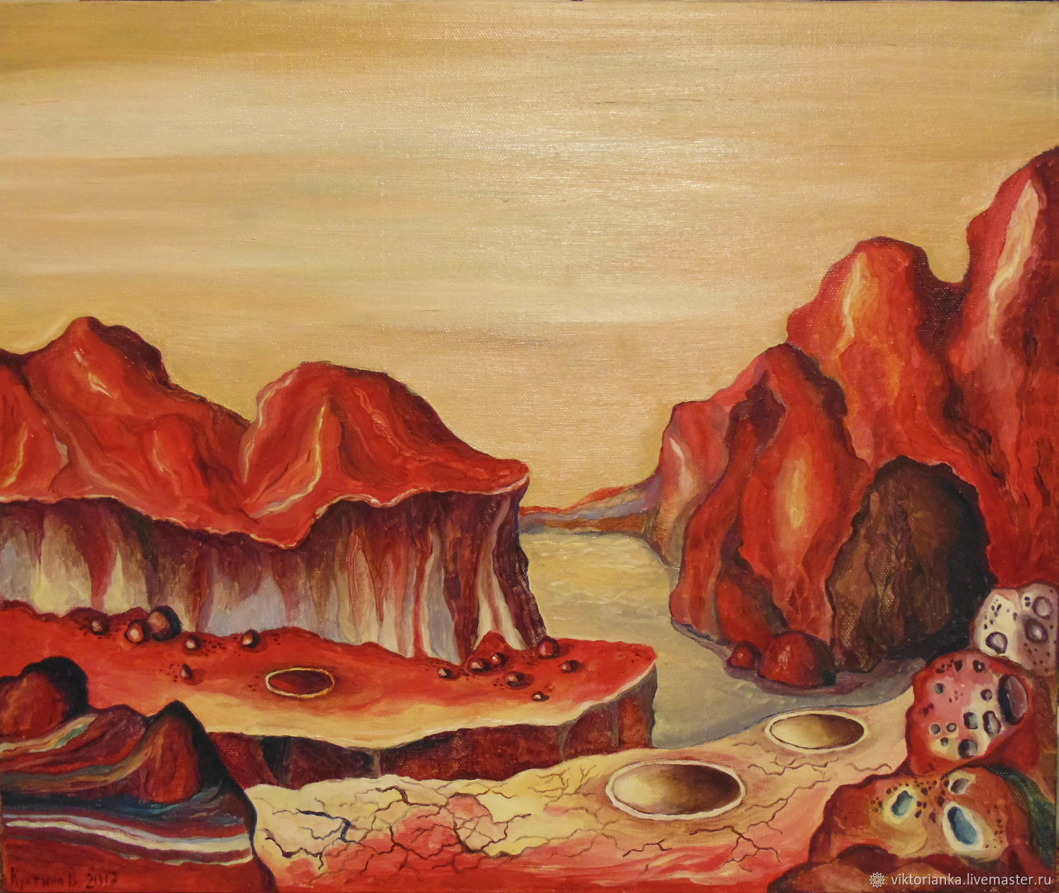 Mars space landscape oil Painting 50h60, Pictures, Yevpatoriya,  Фото №1