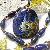 Украшения handmade. Livemaster - original item Bast-goddess cat (Sphinx) pendant necklace with lacquer painting. Handmade.