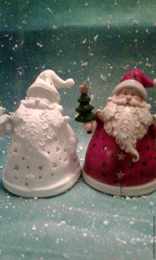 Новый год 2017 ручной работы. Ярмарка Мастеров - ручная работа. Купить Дед мороз с елкой 1 подсвечник. Handmade. Белый