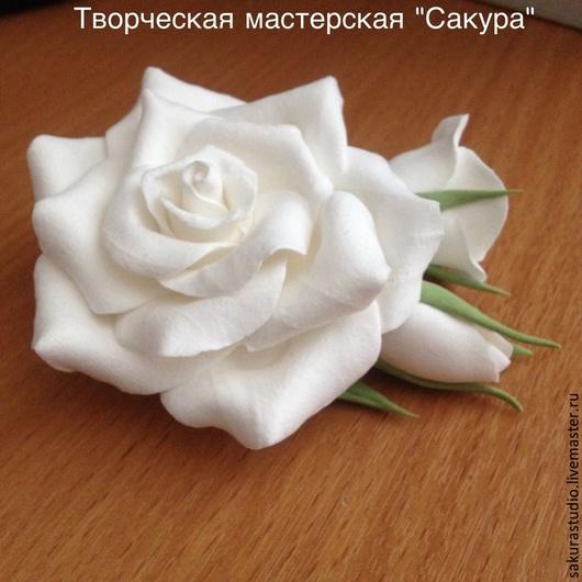 Свадебные украшения ручной работы. Ярмарка Мастеров - ручная работа. Купить Заколка с цветком из полимерной глины. Handmade. Белый