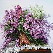 """Картина маслом """"Сирень в медной вазе"""""""