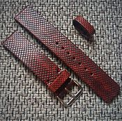 Украшения handmade. Livemaster - original item Watchband Burgundy snake skin 20mm. Handmade.