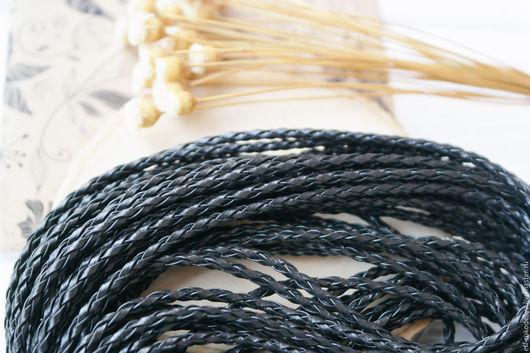 Для украшений ручной работы. Ярмарка Мастеров - ручная работа. Купить Шнур кожаный, черный 3 мм. Handmade. Черный