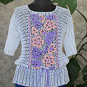Одежда handmade. Livemaster - original item Summer blouse with Irish crochet lace. Handmade.