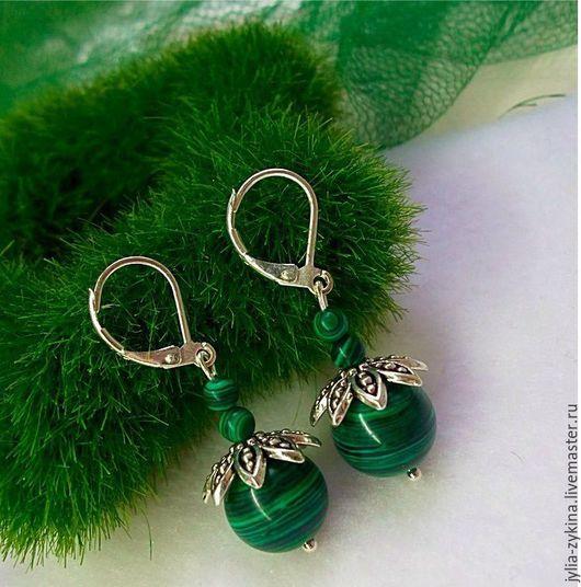 серьги серьги ручной работы серьги с камнями серьги длинные серьги с подвесками серьги в подарок серьги серебро серьги из малахита серьги зеленые серьги с малахитом серебряные украшения серебряные
