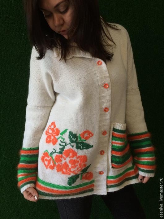 Пиджаки, жакеты ручной работы. Ярмарка Мастеров - ручная работа. Купить Жакет ангора размер 46-50. Handmade. Белый