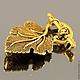 Замок застежка-тоггл в форме виноградного листочка для использования в колье, бусах и браслетах в качестве застежки\r\nСплав с покрытием античное золото