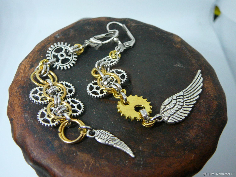 Earrings 'Mechanics', brass, chain weave, Earrings, St. Petersburg,  Фото №1