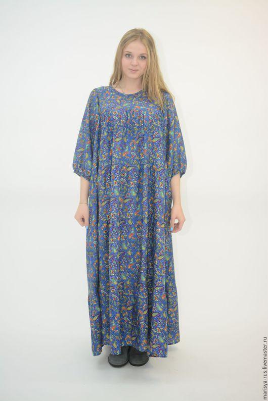 """Платья ручной работы. Ярмарка Мастеров - ручная работа. Купить Платье """"Цветной огурчик"""" голубой. Handmade. Синий, длинное платье"""