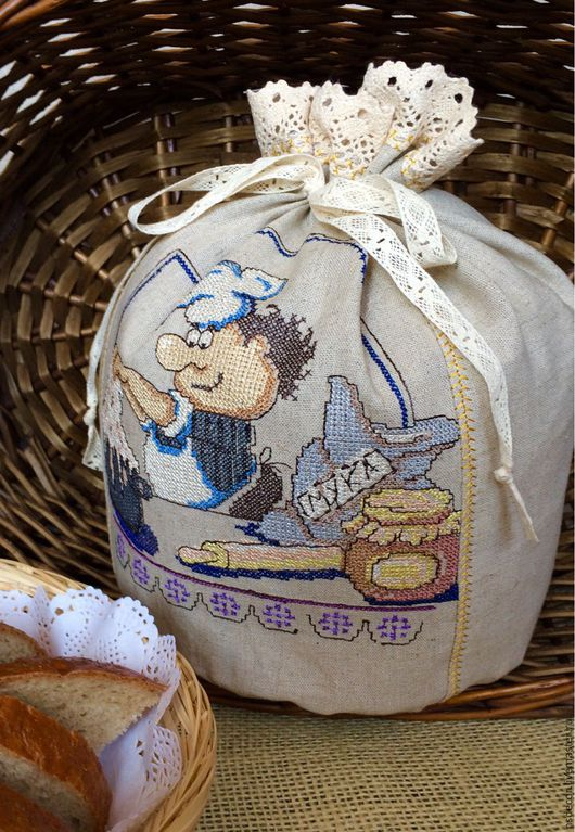 """Кухня ручной работы. Ярмарка Мастеров - ручная работа. Купить Льняной мешочек для хлеба """"Весёлый  поварёнок"""". Handmade. Эко дом"""