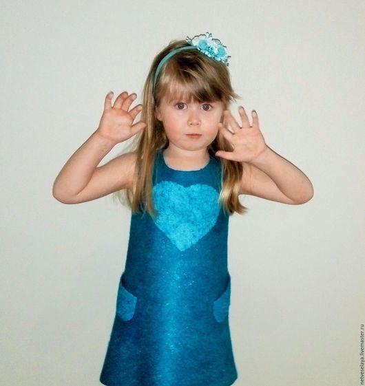 """Одежда для девочек, ручной работы. Ярмарка Мастеров - ручная работа. Купить Платье для девочки """"Tender heart"""". Handmade. Тёмно-бирюзовый"""