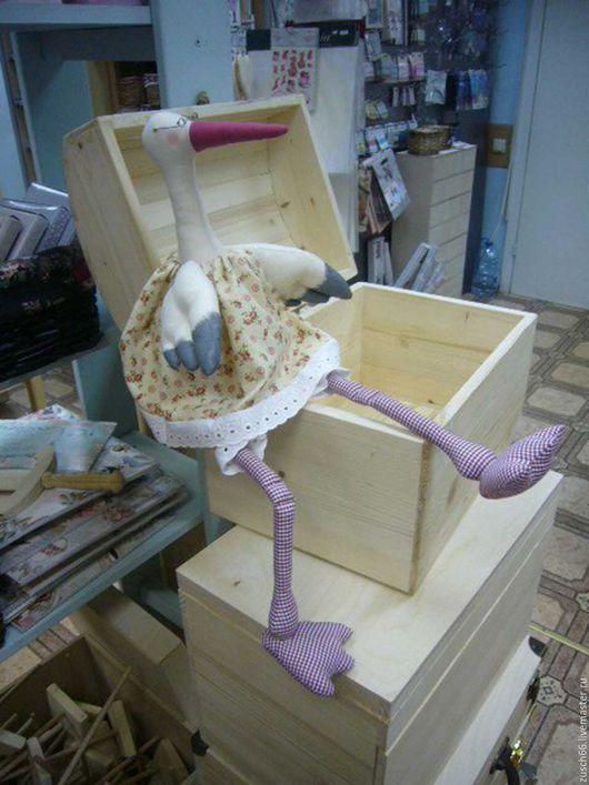 Игрушки животные, ручной работы. Ярмарка Мастеров - ручная работа. Купить Аист с новорожденным. Handmade. Аист с младенцем, подарок, поплин