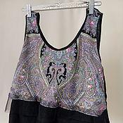 Одежда ручной работы. Ярмарка Мастеров - ручная работа Черная майка- топ, в этно стиле.. Handmade.