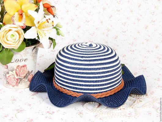 Шапки и шарфы ручной работы. Ярмарка Мастеров - ручная работа. Купить Шляпа соломенная Laura. Handmade. Тёмно-синий