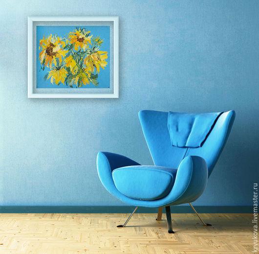 Желтые цветы Яркая картина в интерьер Подсолнухи картина Картина с цветами Летние цветы картина