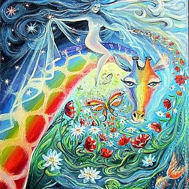 Картины и панно ручной работы. Ярмарка Мастеров - ручная работа Картина маслом Верхом на жирафе.. Handmade.