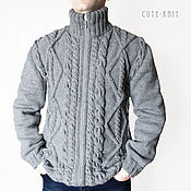 Одежда handmade. Livemaster - original item Grey cardigan mens zipper. Handmade.