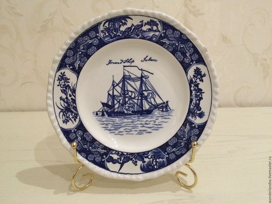 """Винтажная посуда. Ярмарка Мастеров - ручная работа. Купить Тарелка из серии """"Friendship Salem-Blue"""" от Wedgwood.. Handmade. Синий, англия"""