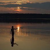 """Картины и панно ручной работы. Ярмарка Мастеров - ручная работа """"Вечер на озере""""... Без фотошопа!. Handmade."""