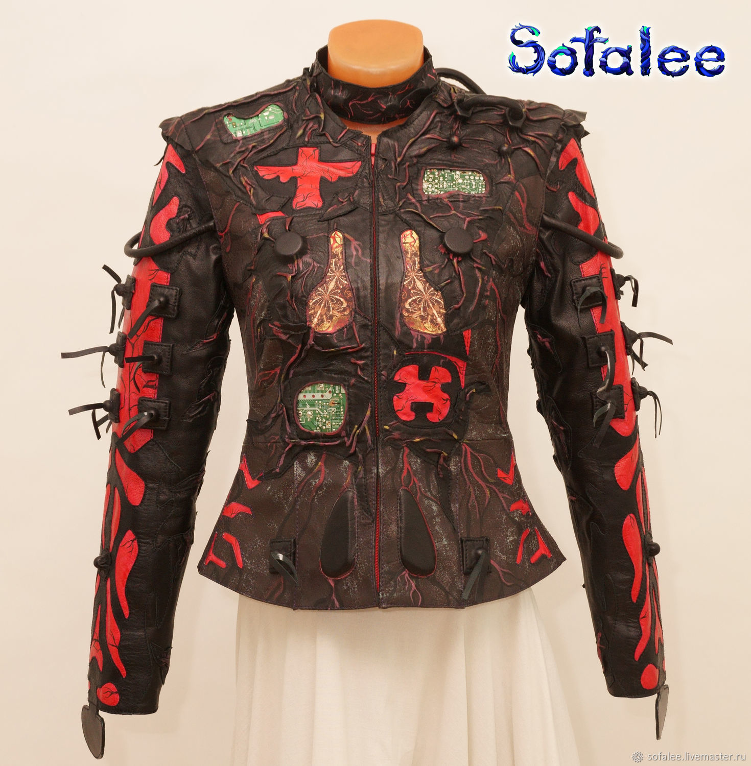 Exclusive women's genuine leather jacket with choker collar, Outerwear Jackets, Moscow,  Фото №1