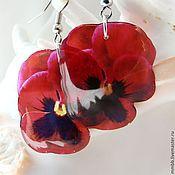 Украшения handmade. Livemaster - original item Pansy earrings red transparent. Handmade.
