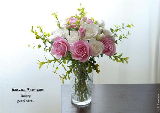 Интерьерные композиции ручной работы. Ярмарка Мастеров - ручная работа. Купить Букет с розами. Handmade. Белый, роза из полимерной глины
