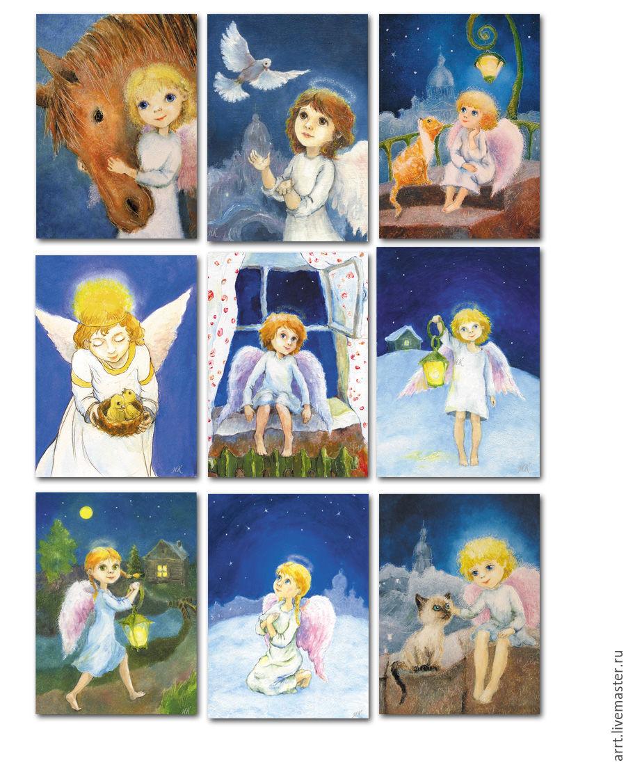 Angels Christmas Cards.Christmas Angels Greeting Cards Set Of 9 Pcs Kupit Na Yarmarke Masterov 9zv3fcom Otkrytki St Petersburg