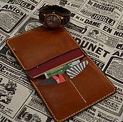 Материалы для творчества ручной работы. Ярмарка Мастеров - ручная работа Тонкий портмоне для паспорта денег и карт. Handmade.