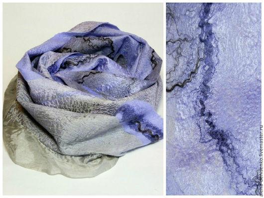 Шарфы и шарфики ручной работы. Ярмарка Мастеров - ручная работа. Купить шарф валяный серо-сиреневый. Handmade. Разноцветный
