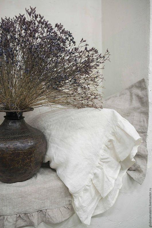 Текстиль, ковры ручной работы. Ярмарка Мастеров - ручная работа. Купить Наволочка французская с воланом 50х70, умягченный лён. Handmade.