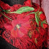Аксессуары ручной работы. Ярмарка Мастеров - ручная работа Тонкий валяный шарф на шифоне Весна-красна. Цветы.. Handmade.