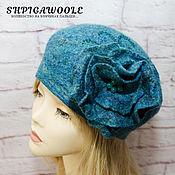 Аксессуары handmade. Livemaster - original item Felted beret and brooch set women`s Navy blue. Handmade.