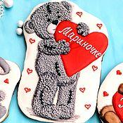 Сувениры и подарки handmade. Livemaster - original item Gingerbread Teddy Bear with heart.Stick on Valentine`s Day. Handmade.