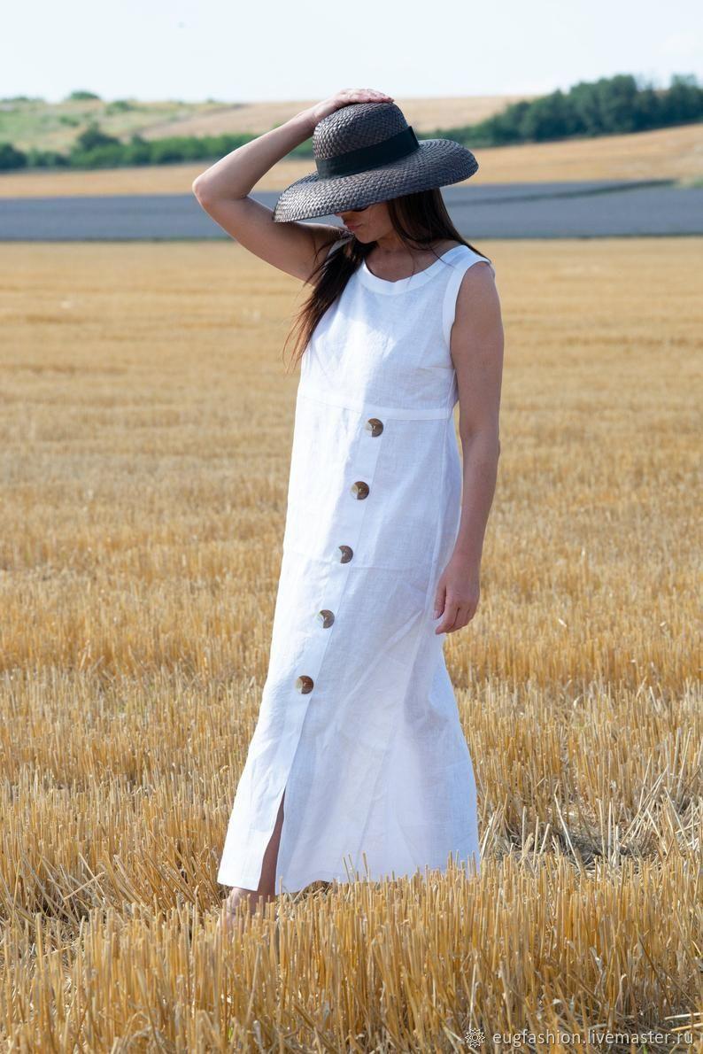 Летнее, льняное  платье с пуговицами - DR0319LE, Сарафаны, София,  Фото №1