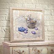 Картины и панно ручной работы. Ярмарка Мастеров - ручная работа натюрморт Сливы (шебби шик, нежно бежевый, фиолетовый). Handmade.