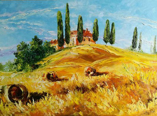 Пейзаж ручной работы. Ярмарка Мастеров - ручная работа. Купить Тоскана. Handmade. Оранжевый, лето, холст на подрамнике
