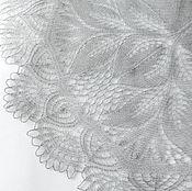 Аксессуары ручной работы. Ярмарка Мастеров - ручная работа Шаль вязаная Гентиана Серая из кид - мохера с шелком. Handmade.