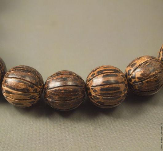 Для украшений ручной работы. Ярмарка Мастеров - ручная работа. Купить Бусины-тыковки темно-коричневые из дерева старой пальмы 15 мм. Handmade.