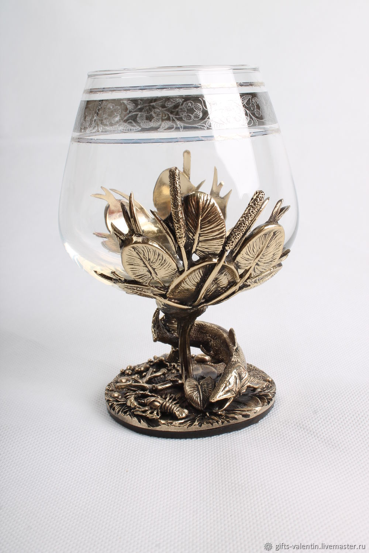 A glass of brandy 'a good catch' Pike, Wine Glasses, Vacha,  Фото №1