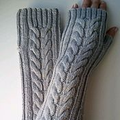 Аксессуары handmade. Livemaster - original item Spike fingerless long gloves, grey. Handmade.