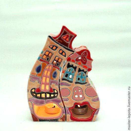 """Подсвечники ручной работы. Ярмарка Мастеров - ручная работа. Купить Подсвечники """"Леди и Джентльмен"""". Handmade. Домик, Керамика, пестрый"""