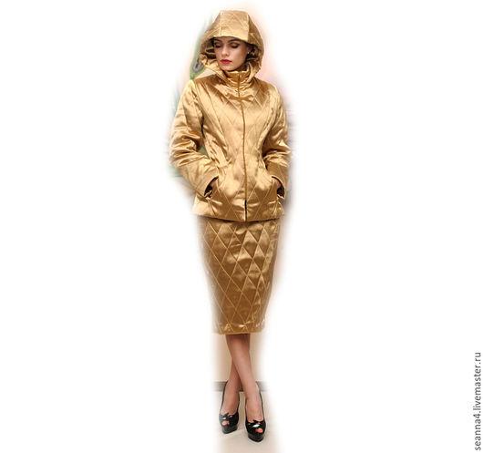 """Верхняя одежда ручной работы. Ярмарка Мастеров - ручная работа. Купить Костюм стеганый теплый """"Золотая стежка"""" из атласа разные цвета, размер. Handmade."""