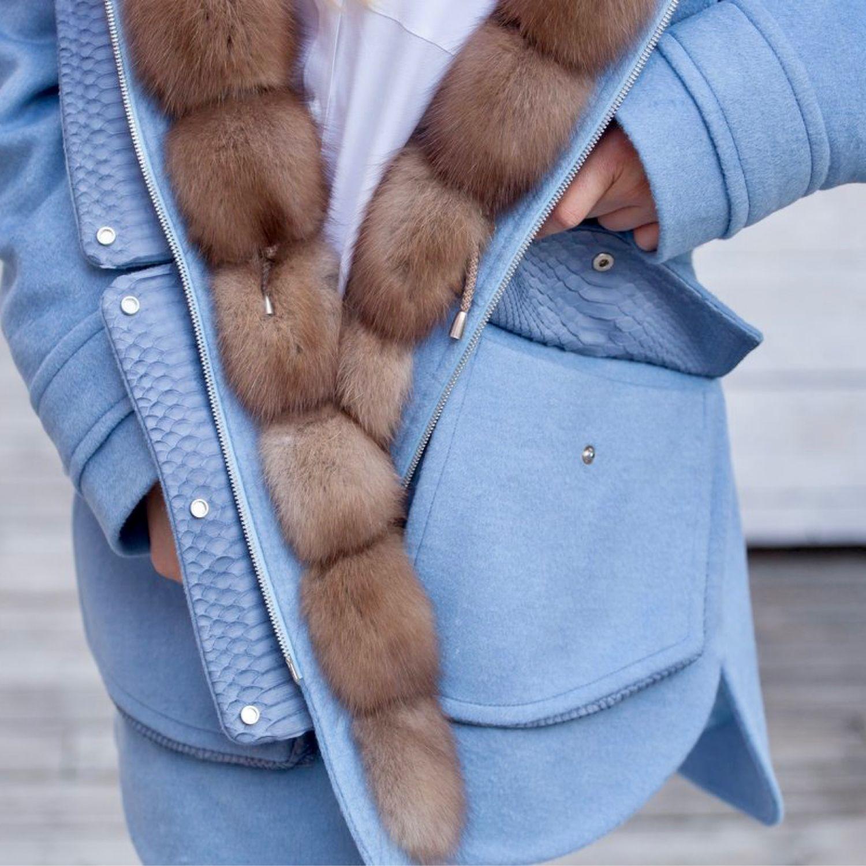 Пальто из кашемира с Куницей и питоном, Пальто, Москва,  Фото №1
