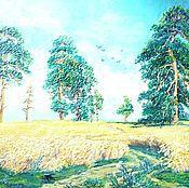 """Картины и панно ручной работы. Ярмарка Мастеров - ручная работа Пластилинография, копия картины И. Шишкина """"Рожь"""". Handmade."""