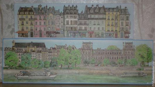 """Пейзаж ручной работы. Ярмарка Мастеров - ручная работа. Купить Набор панно """"Европа"""". Handmade. Разноцветный, город, архитектура, дом"""