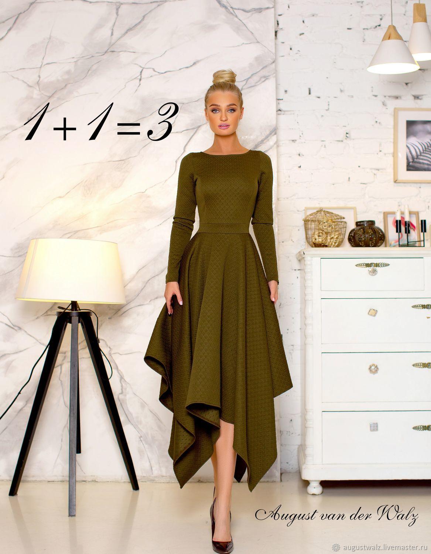 Платье с асимметричной юбкой.  Офисное платье, Платья, Санкт-Петербург, Фото №1