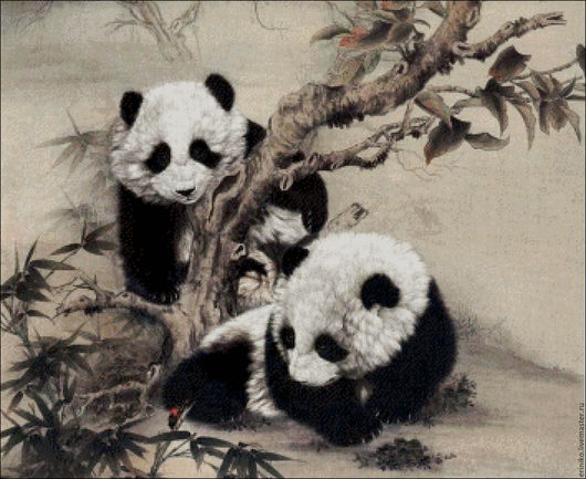 """Вышивка ручной работы. Ярмарка Мастеров - ручная работа. Купить Схема для вышивания крестиком """"Малыши панды"""". Handmade. Комбинированный, мишки"""