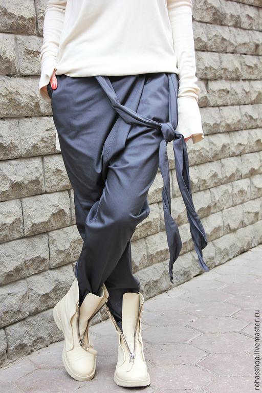6e8f0b38e8631c R00012 брюки из хлопка серые брюки модные брюки с мотней штаны с мотней  хлопковые брюки стильные ...
