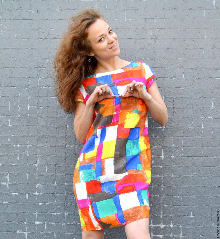 4b4dc0cc825 Платья ручной работы. Ярмарка Мастеров - ручная работа. Купить Платье  льняное короткое РАДУГА.