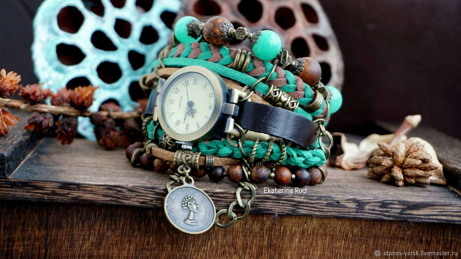 Stylish leather wrist watch with Jasper ' Best time', Watches, Moscow,  Фото №1